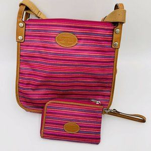 FOSSIL Pink Striped Crossbody and Wristlet
